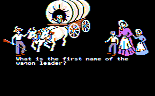 The Oregon Trail DOS Naming your party (CGA Color Composite Graphics)