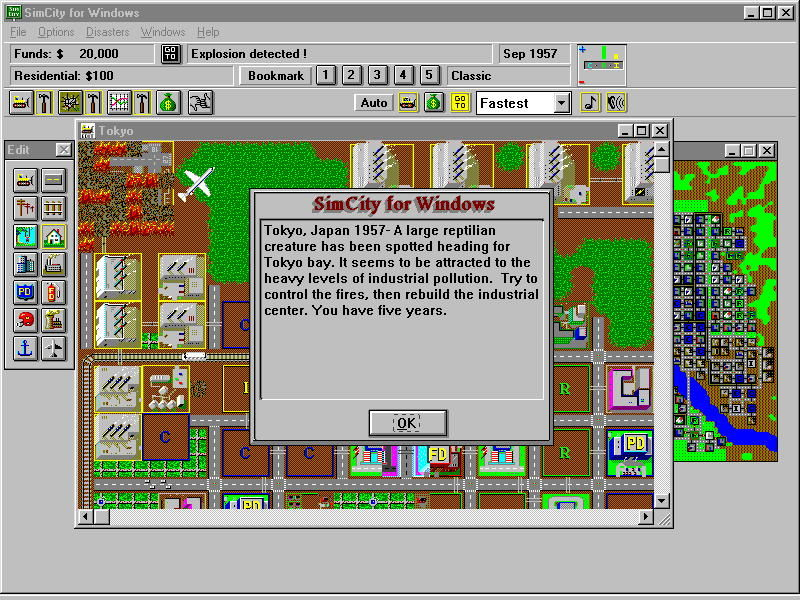 SimCity Windows 3.x Scenario description