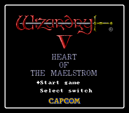 Wizardry V: Heart of the Maelstrom SNES Title screen