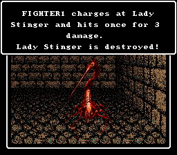 Wizardry V: Heart of the Maelstrom SNES Fighting a Lady Stinger