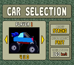 Stunt Race FX SNES Selecting a car