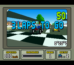 Stunt Race FX SNES The race begins with a nice tracking shot