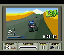Stunt Race FX SNES Bumping around