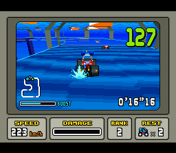 "Stunt Race FX SNES Driving through the ""Aqua Tunnel"""
