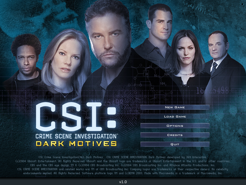 CSI: Crime Scene Investigation - Dark Motives Windows Main menu