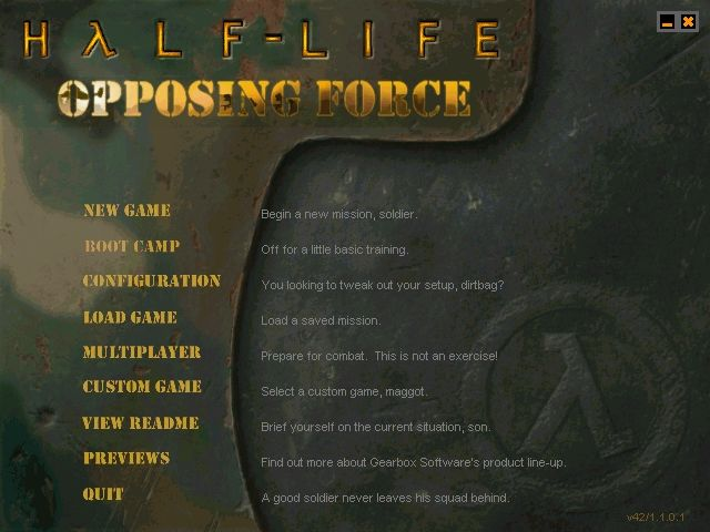 Half-Life: Opposing Force Windows Main menu (original version)