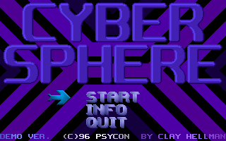 Cybersphere DOS Main menu screen.