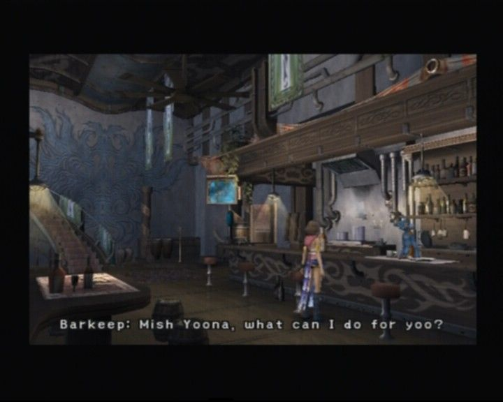 Final Fantasy X-2 PlayStation 2 Just below the ship's bedroom there's a bar with a cute talking bartender