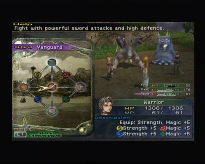 Final Fantasy X-2 PlayStation 2 Prepping to change a dressphere during battle