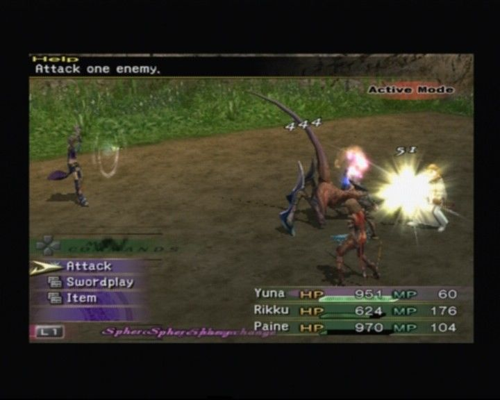 Final Fantasy X-2 PlayStation 2 Paine dealing bigger damage striking from behind, 'cos it depends upon the position and side one's turned towards during the battle