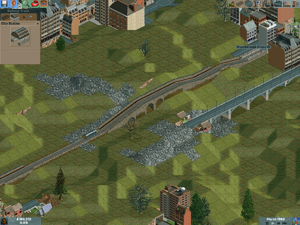 Chris Sawyer's Locomotion Windows Here is a short train route between cities.  You can add many cars to a train as needed