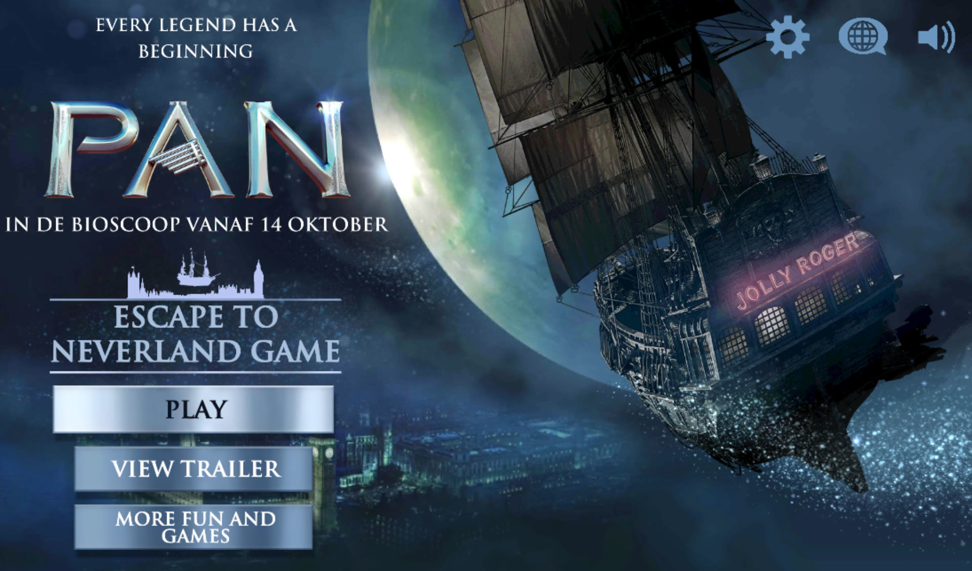Pan: Escape to Neverland Android Main menu (Dutch version)