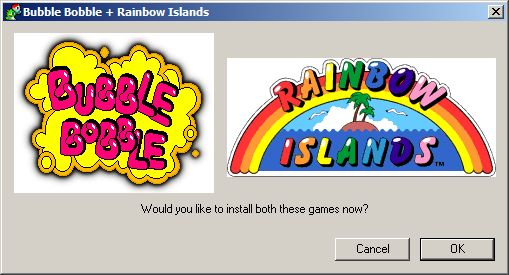 Bubble Bobble also featuring Rainbow Islands Windows The install process loads both games at the same time. Once loaded they are run separately from the Windows START menu or their desktop icons<br>UK Xplosiv release