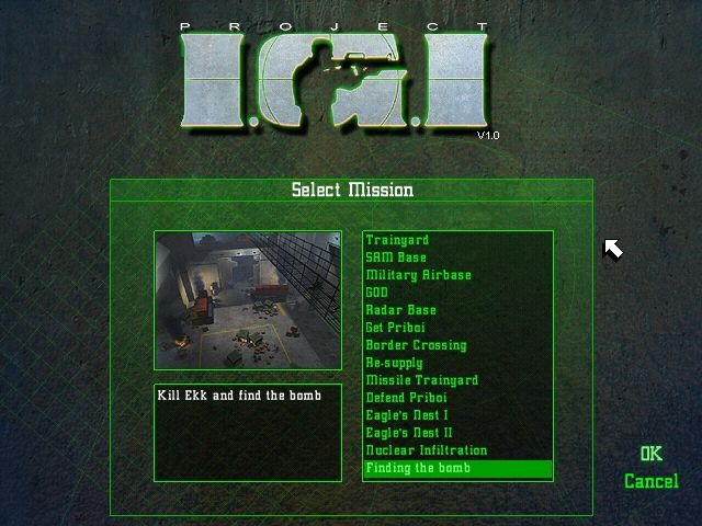 Project IGI: I'm Going In Windows the Mission Selection screen..