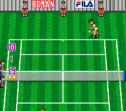 Super Final Match Tennis SNES Preparing to serve.