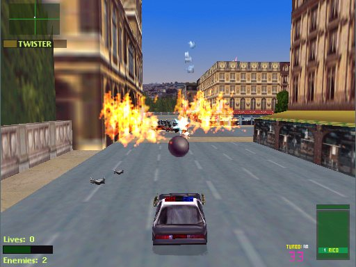 Twisted Metal 2 Windows Attacking enemy with all weapons i have