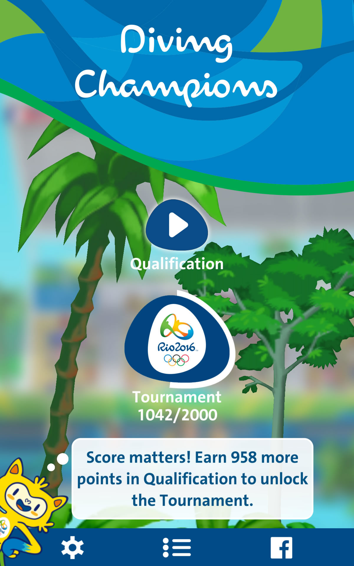 Rio 2016: Diving Champions Android Main menu
