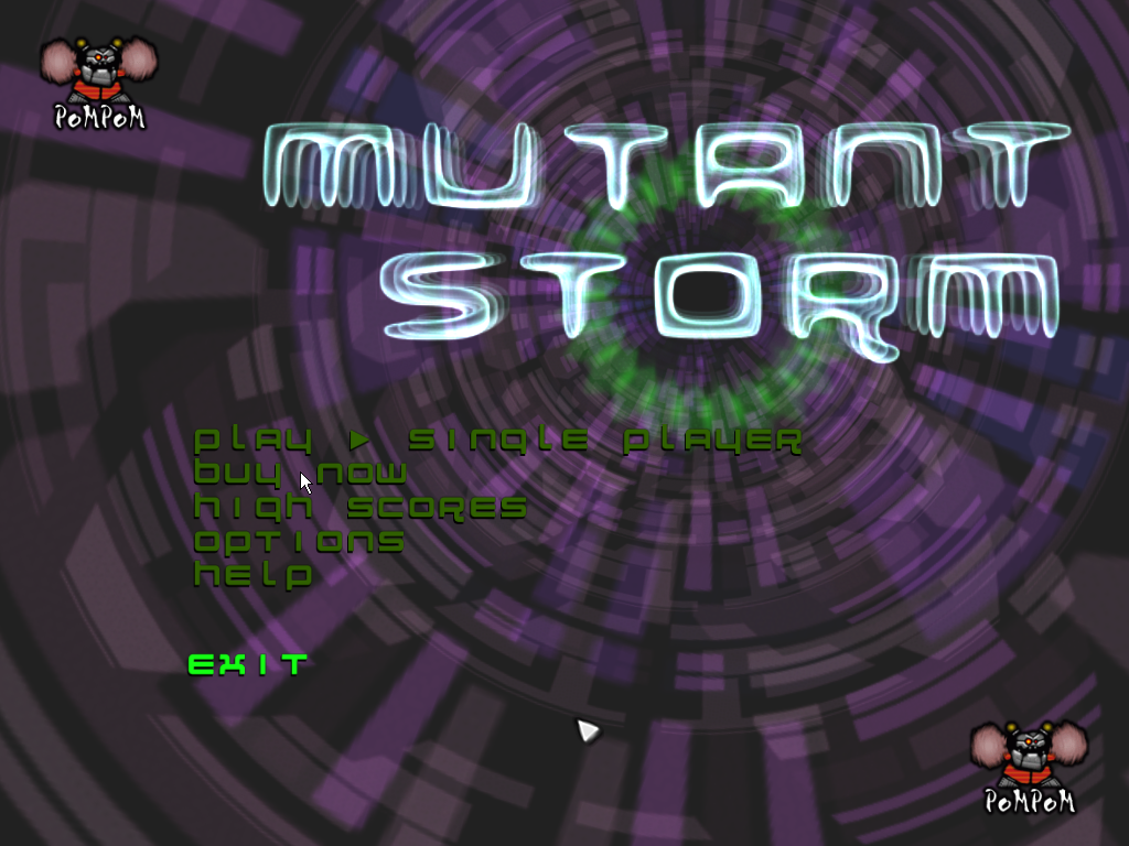 Mutant Storm Windows Main menu