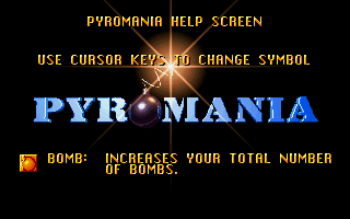 Pyromania DOS The in-game help system describing the various power-ups.