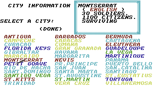 Sid Meier's Pirates! Commodore 64 City information.