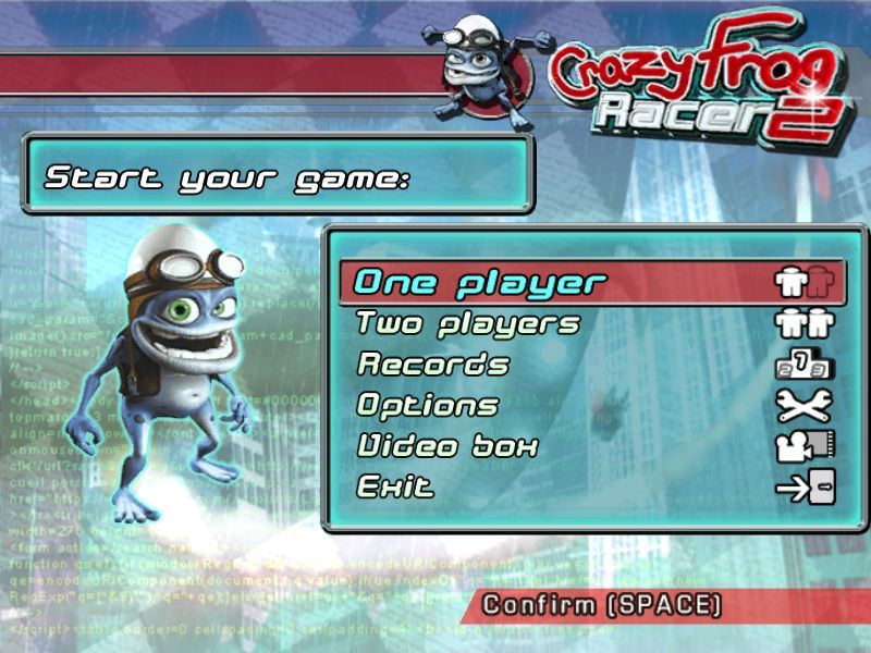 Crazy Frog Arcade Racer Windows The main menu. Menu navigation is entirely keyboard controlled