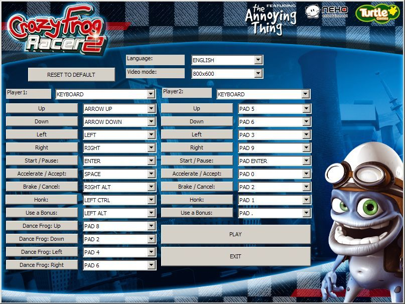 Crazy Frog Arcade Racer Windows This screen is used to install the game. Once installed the 'INSTALL' button becomes the 'PLAY' button. This is where language, controller and screen resolution options are chosen
