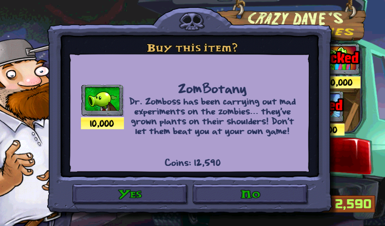 Plants vs. Zombies Android Spending coins on a minigame