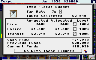 SimCity Amiga City budget. (1 Meg 32 color version)