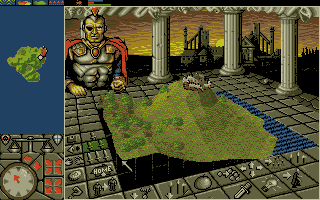 PowerMonger DOS Starting off on a hill. (VGA 16 Color)