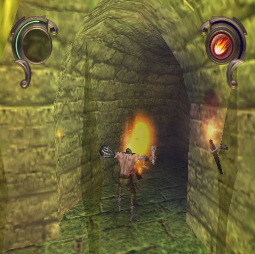 Warriors of Might and Magic PlayStation 2 Destroying a zombie with a fireball