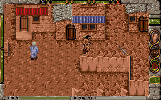 Conan: The Cimmerian DOS Exploring the streets of Shadizar from a top-down perspective.