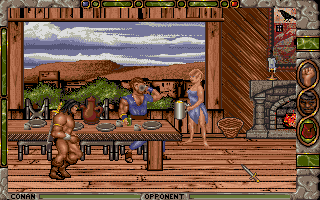 Conan: The Cimmerian DOS Inside buildings (such as this tavern), the game switches to a side view.