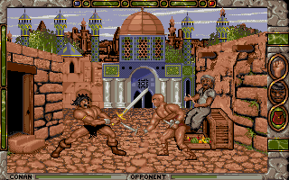 Conan: The Cimmerian DOS Just arrived in Shadizar, Conan has already gotten himself into trouble! Real-time sword combat with a thug in the streets.
