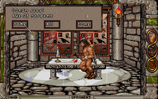 "Conan: The Cimmerian DOS Finding the gem ""Eye of Serpent"" ends the first mission."