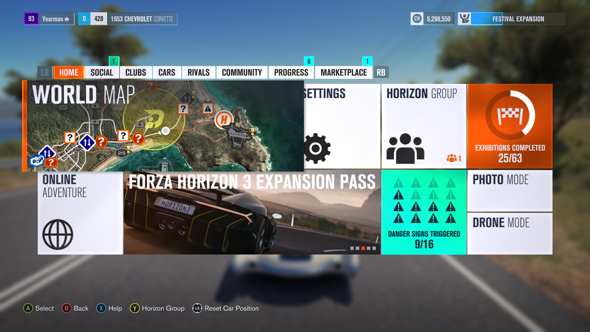Forza Horizon Xbox One Main Menu Screen Game Awards