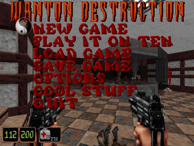 Wanton Destruction DOS Game title shown on in the main menu.