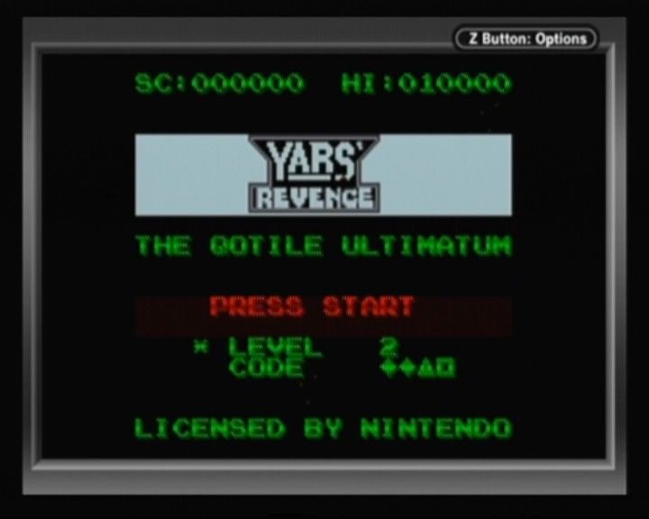 Yars' Revenge Game Boy Color Main Menu (code for the current level will be there)