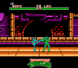 Teenage Mutant Ninja Turtles: Tournament Fighters NES Raphael gives a kick to Leonado's head
