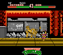 Teenage Mutant Ninja Turtles: Tournament Fighters NES Hothead uses a body smash on poor Donatello