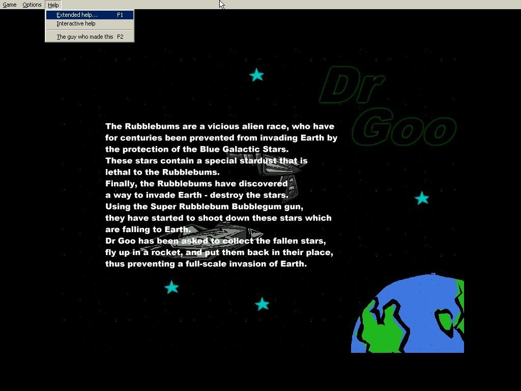 Dr Goo 3: The Rubblebum War Windows The background story<br>For the first time in the series there's a menu bar