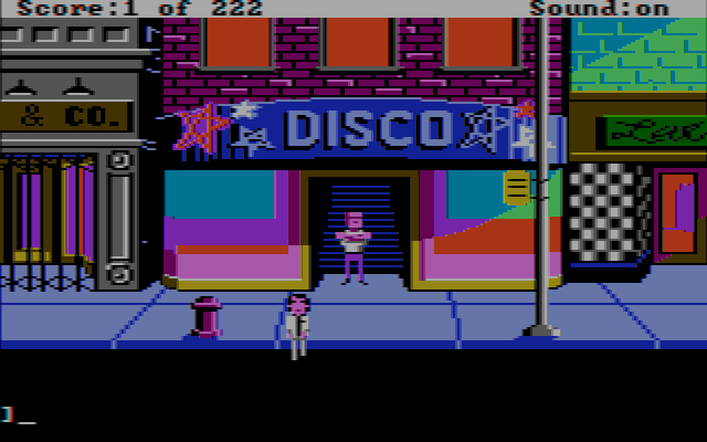 Leisure Suit Larry in the Land of the Lounge Lizards DOS The disco is another of the key locations (CGA with composite monitor)