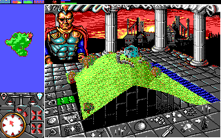 PowerMonger DOS Starting off on an island (EGA)