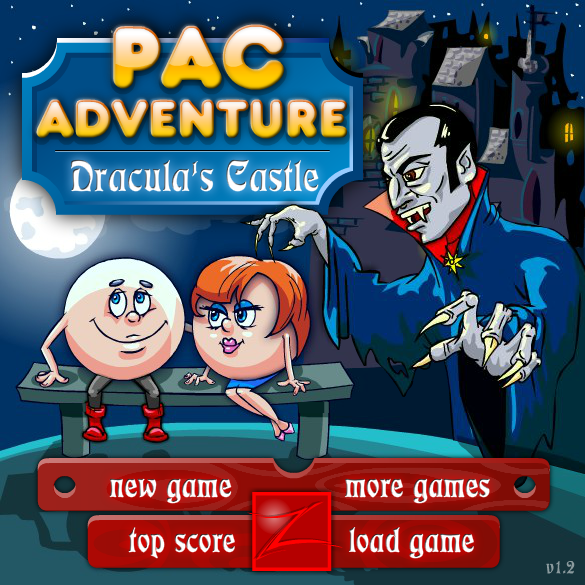 Pac Adventure: Dracula's Castle Browser Main menu