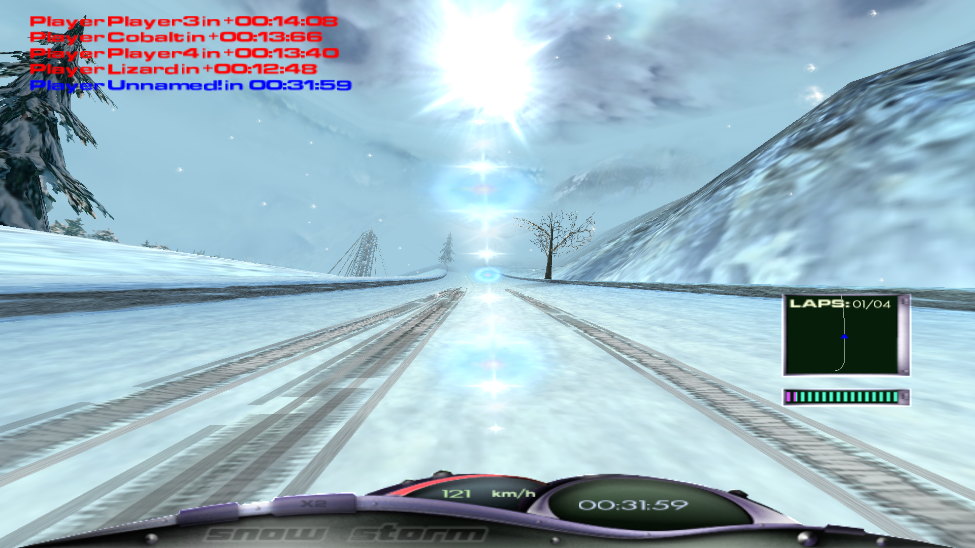 Snow Storm Windows The sun in our face on the track Gotha Serpentine (first-person perspective, full screen, 1920x1080)