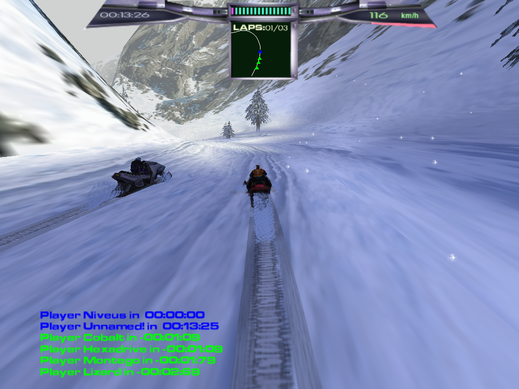 Snow Storm Windows Racing against opponents through the Winter Resort (third-person perspective, full screen, 1024x768)