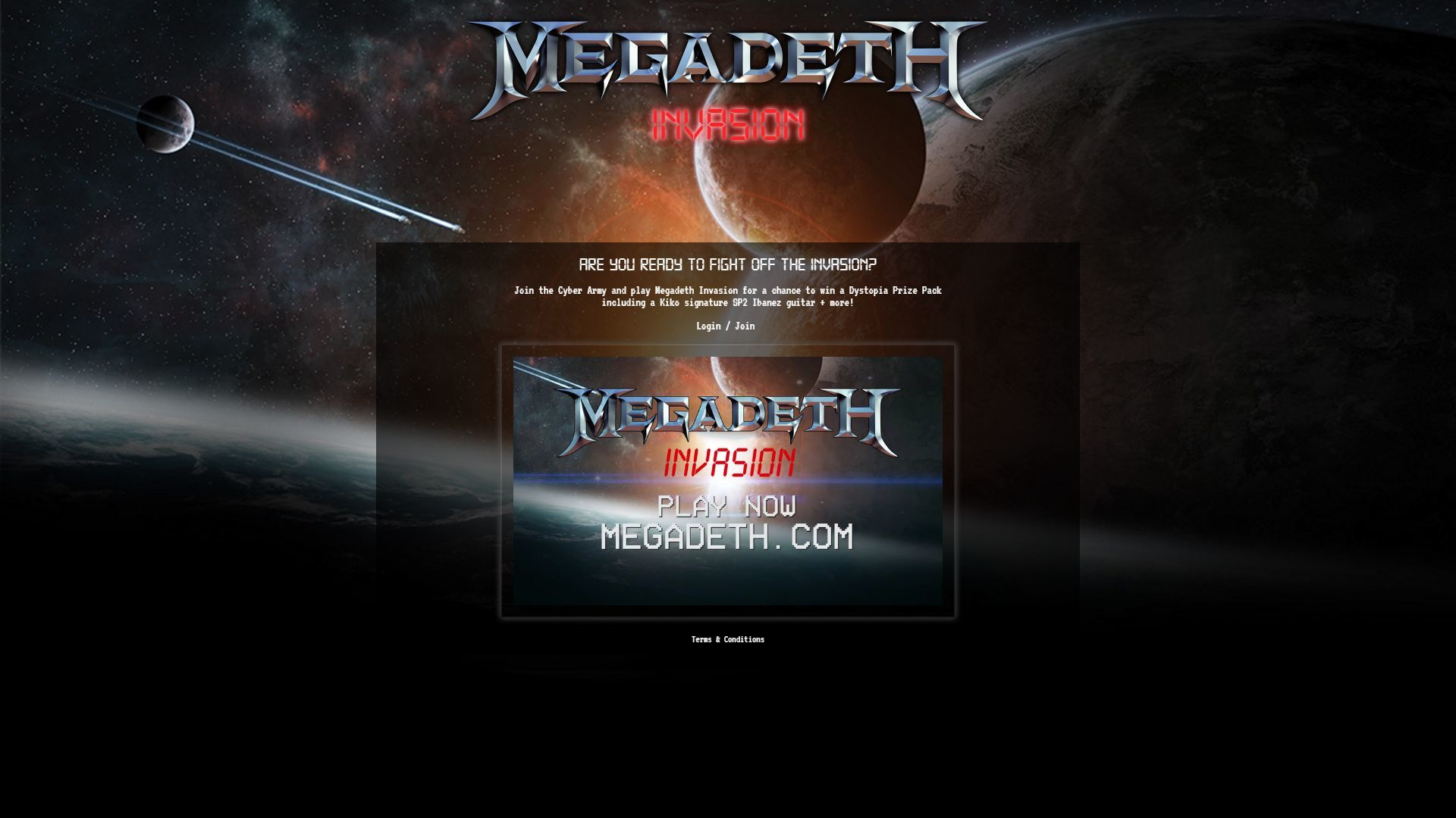 Megadeth: Invasion Browser Title screen.