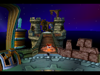 "Crash Bandicoot: Warped PlayStation Platforms like this are ""gates"" for sets of five levels."