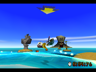 Crash Bandicoot: Warped PlayStation Coco can perform a few tricks on the Jetski. This flip being one of them