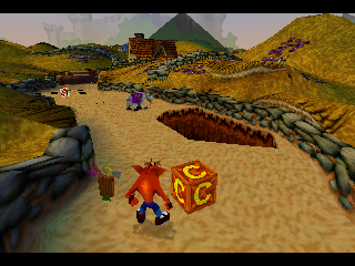 Crash Bandicoot: Warped PlayStation C Boxes allow you to restart at the last C Box you destroy after you die.