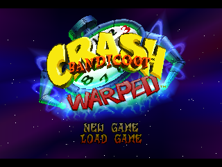 Crash Bandicoot: Warped PlayStation Title Screen